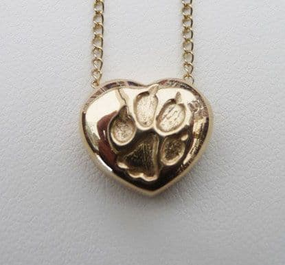 Solid Gold Heart Dog Paw Print Necklace