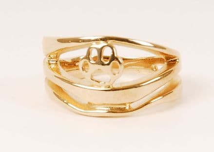 Solid Gold Modern Wave with Filigree Paw Print Ring