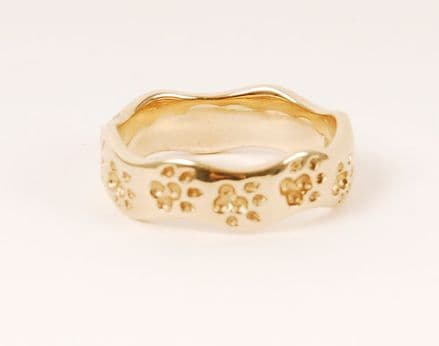 Solid Gold New Wave Dog Paw Print Ring