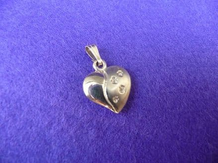 Solid Gold Small Heart with Dog Paw Footprints Necklace