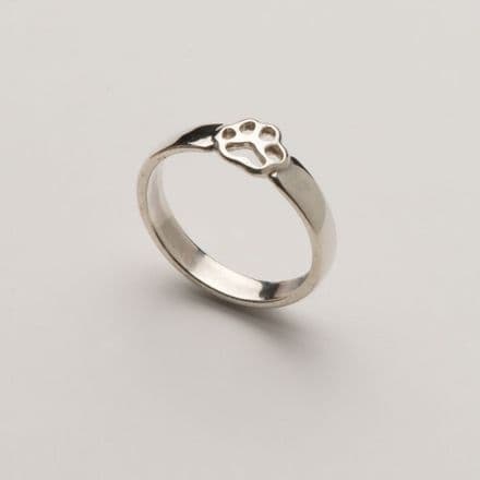 Solid Silver Baby Filigree Paw Print Ring