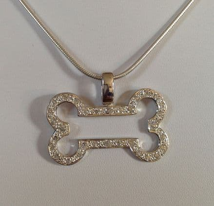 Solid Silver Bling Dog Bone Necklace