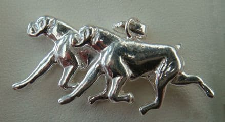 Solid Silver Boxer Dogs Running Charm