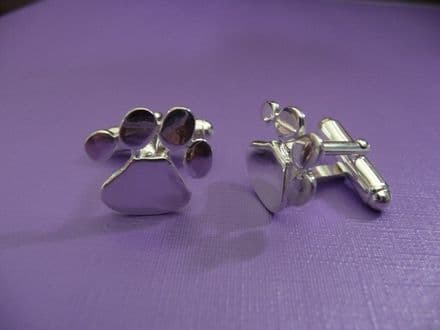 Solid Silver Dog Paw Cuff Links
