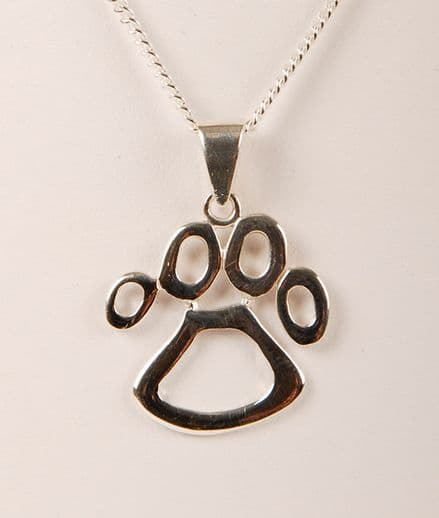 SOLID SILVER CUT OUT PAW PRINT NECKLACE Large