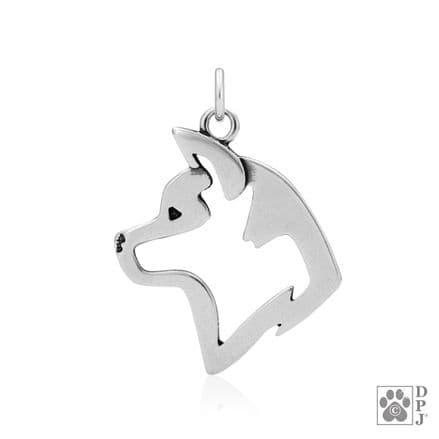 Solid Silver Dazzling Paws Akita Head