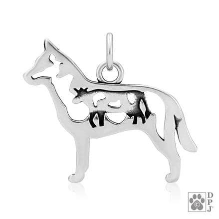 Solid Silver Dazzling Paws Australian Cattle Dog w/Cow