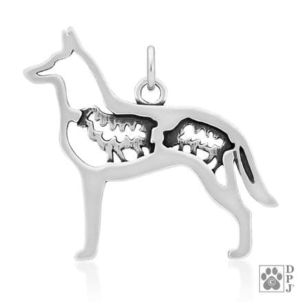 Solid Silver Dazzling Paws Belgian Malinois w/Sheep