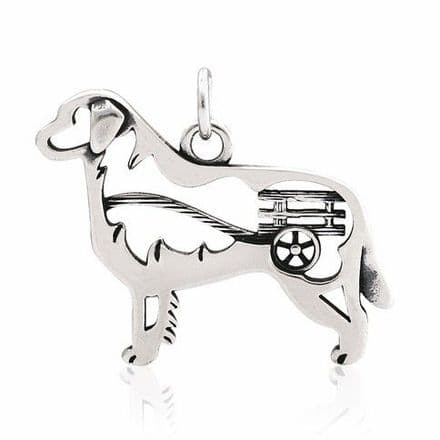 Solid Silver Dazzling Paws Bernese Mountain Dog w/Cart
