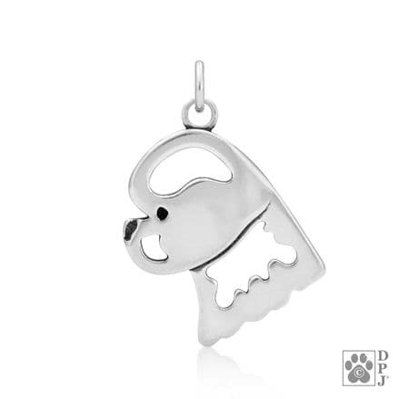 Solid Silver Dazzling Paws Bichon Frise Head