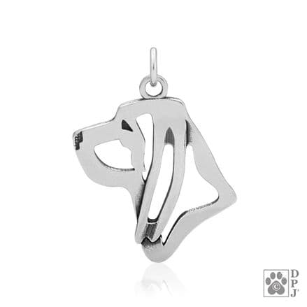 Solid Silver Dazzling Paws Bloodhound Head