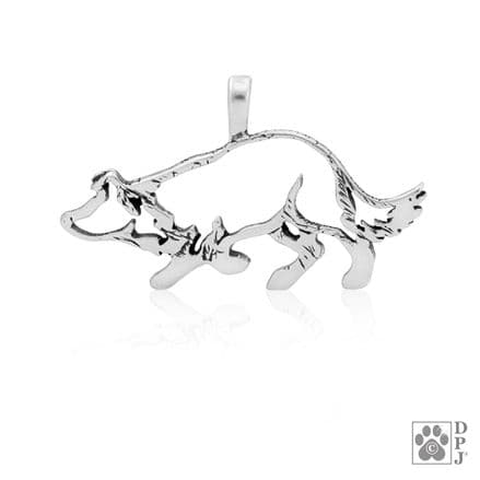 Solid Silver Dazzling Paws Border Collie Crouch