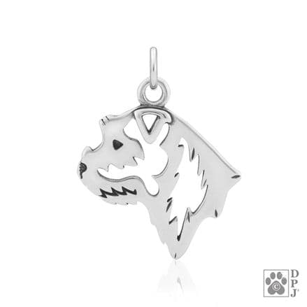 Solid Silver Dazzling Paws Border Terrier Head