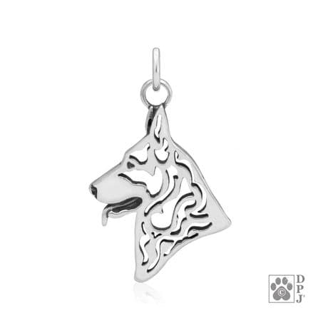 Solid Silver Dazzling Paws German Shepherd Dog Head
