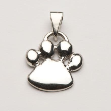 Solid Silver Dog Padded Paw Print Necklace (New Style)