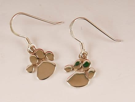 Solid Silver Dog Paw Print Drop Earrings