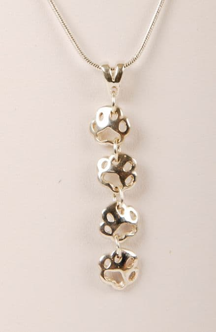 Solid Silver Dog Paw Print Filigree Small Paw Drop Necklace