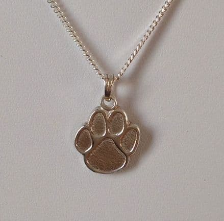 Solid Silver Dog Paw Print Necklace Embossed