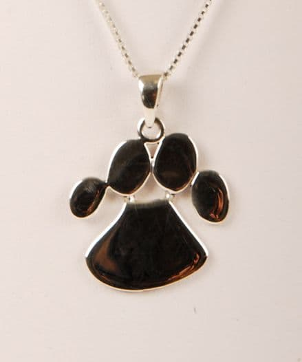 Solid Silver Dog Paw Print Necklace (Large)