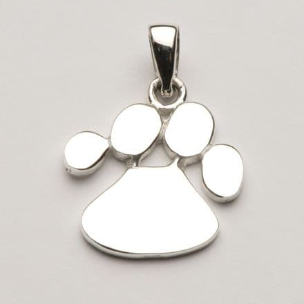 Solid Silver Dog Paw Print Necklace (Medium)