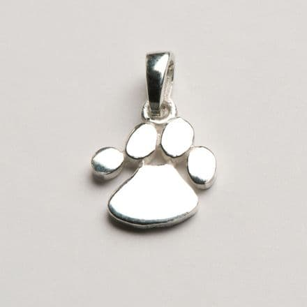 Solid Silver Dog Paw Print Necklace (Small)