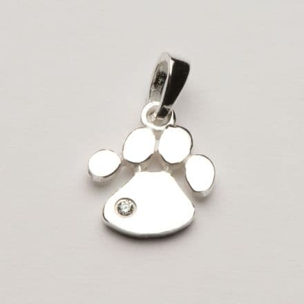 Solid Silver Dog Paw Print Necklace with Stone (Small)