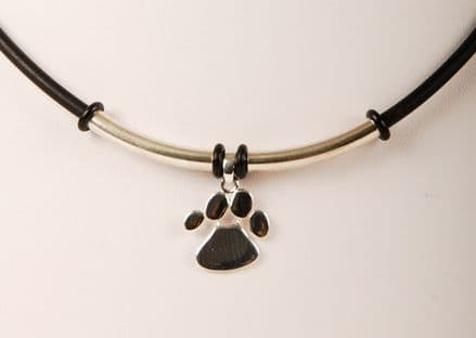 Solid Silver Dog Paw Print on Rubber Necklace Medium