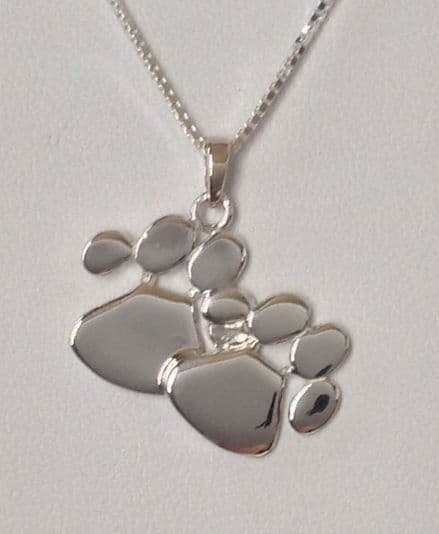 Solid Silver Double Dog Paw Print Necklace (Medium)