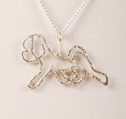 Solid Silver Filigree Bichon Frise (Large) Necklace