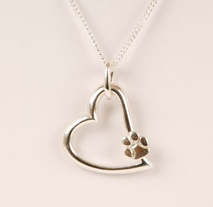 Solid Silver Filigree Heart with Paw Necklace
