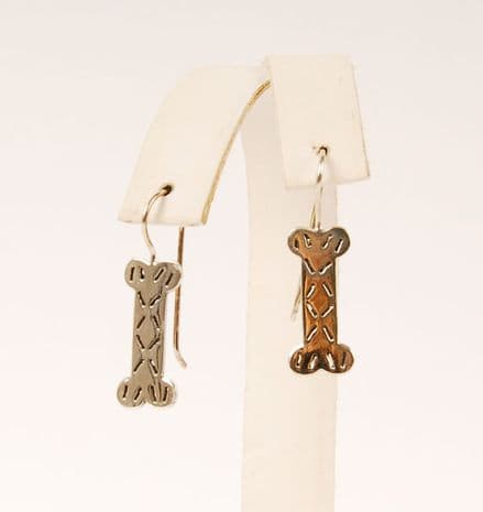 Solid Silver Flat Bone Earrings