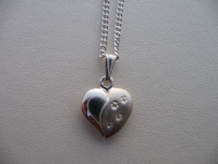Solid Silver Heart Dog Paw Print Necklace