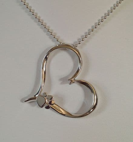 Solid Silver Large Filigree Heart with Paw Necklace