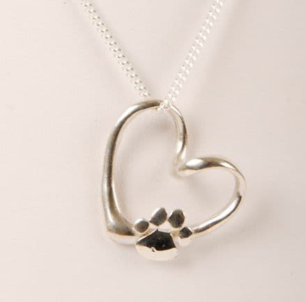 Solid Silver Large Filigree Wavy Heart with Paw Necklace
