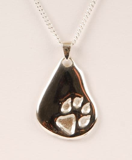 Solid Silver Medium Nugget with Single Dog Paw Necklace