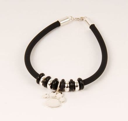 Solid Silver Medium Paw Print Rubber Bracelet