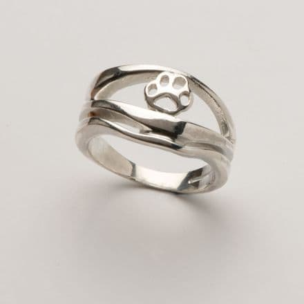 Solid Silver Modern Wave with Filigree Paw Print Ring