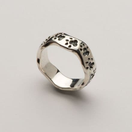 Solid Silver New Wave Paw Print Ring