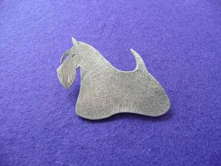 Solid Silver Scottie Brooch Brushed