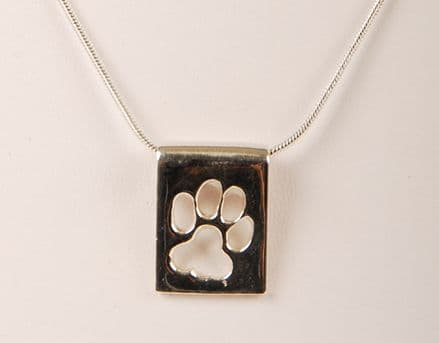 Solid Silver Scroll Nugget with Cut Out Dog Paw Necklace