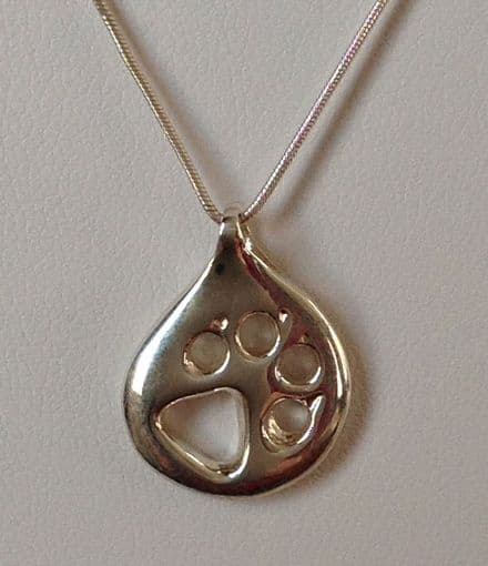 Solid Silver Teardrop Wolf Paw Print Necklace