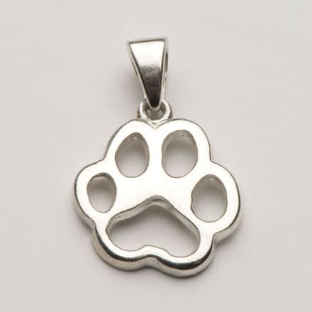 Solid Silver Tiffany Dog Paw Print Filigree Necklace