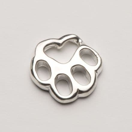 Solid Silver Tiffany Dog Paw Print Filigree Necklace (Chain lays flat)