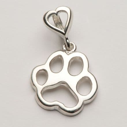 Solid Silver Tiffany Dog Paw Print Filigree Necklace with Heart Bail