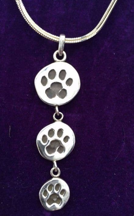 Solid Silver Trio of Paws on Silver Chain