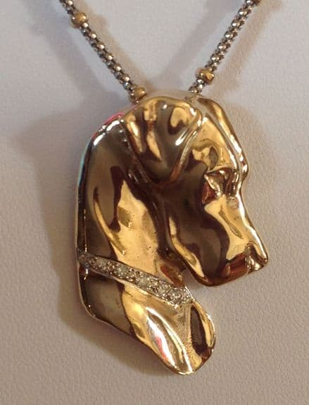 Stunning Solid Gold Great Dane Head encrusted with Diamond Collar