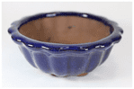 Bonsai Pot, Round, 12cm, Blue, Glazed