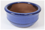Bonsai Pot, Round, 9cm, Blue, Glazed