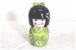Kokeshi Doll Money Box, Green, 17cm