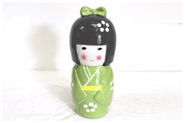 Kokeshi Doll Money Box, Green, 29cm